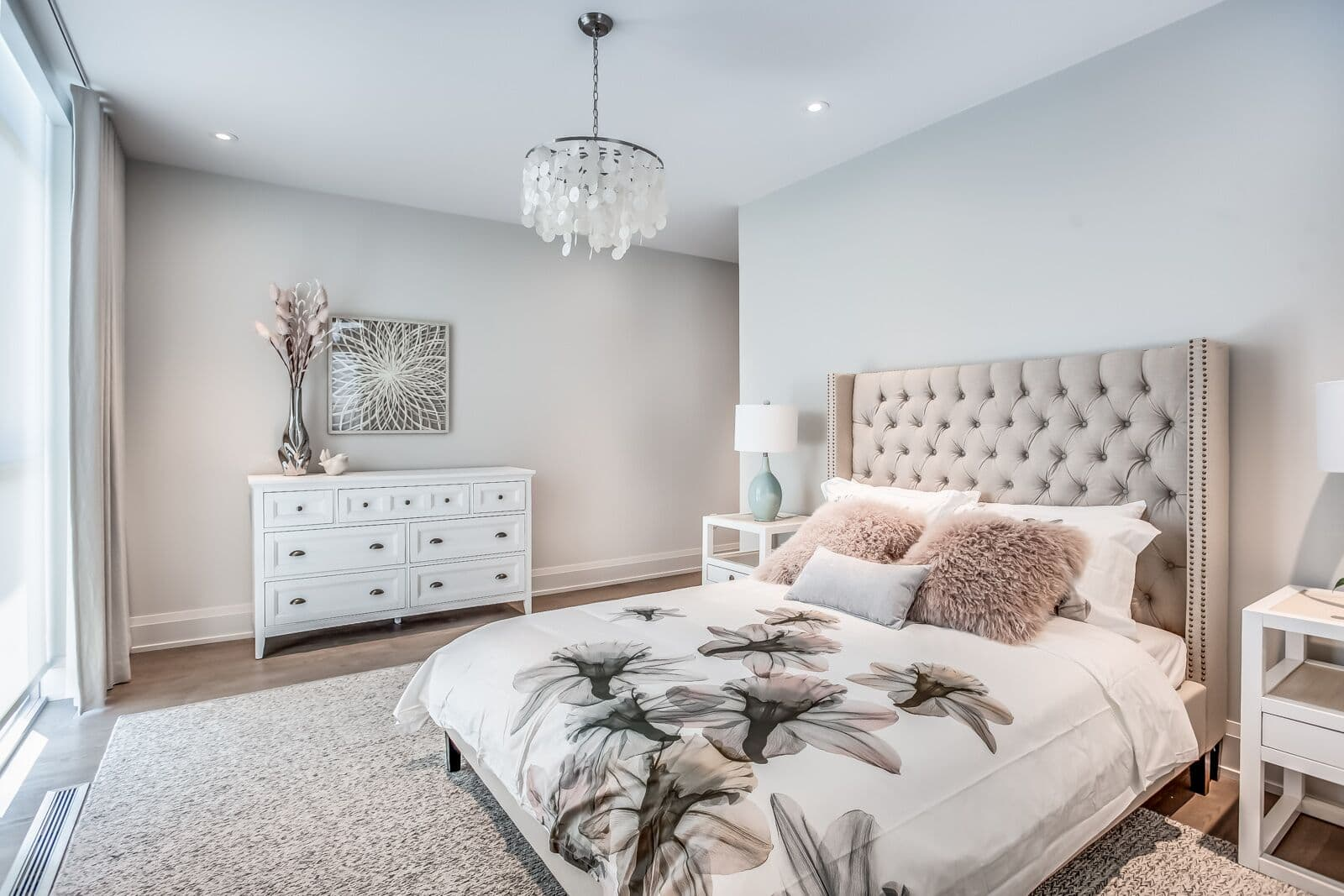 Bedroom of model home at Friday Harbour